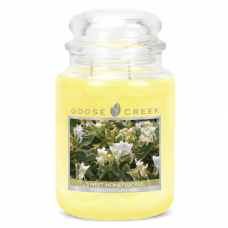 Goose Creek Premium Large Round Scented Candle Jar SWEET HONEYSUCKLE Double Wick